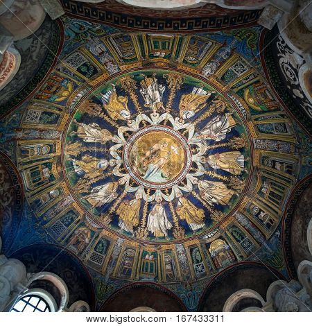 Dome Of The Neoniano Baptistry In Ravenna