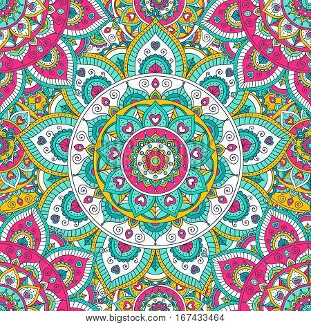 Vector seamless pattern with ethnic mandala. Tribal background with hand drawn doodle ornaments. Bright colors - yellow pink white green mint.
