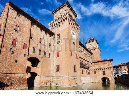 View Of Castello Estense In Ferrara In Sunny Day