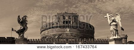 Castel Sant Angelo in Italy Rome panoramic view with angels closeup
