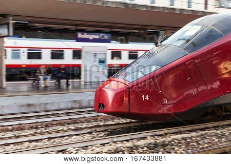 High-speed Train On Bologna Railway Station