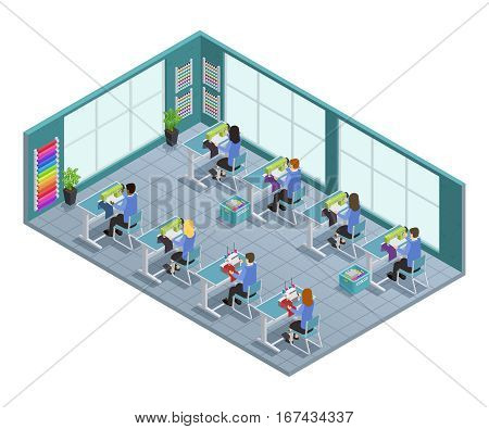 3d garment factory isometric composition with workshop on tailoring in the factory vector illustration
