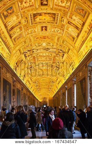 Visitors In Maps Gallery In Vatican Museum