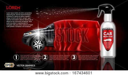 High quality Car Protection Spray packadge mock up ads. Bottle of carwash soap. 3d Vector realistic modern vehicle template