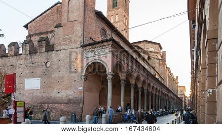 People Near Medieval Urban Wall In Bologna