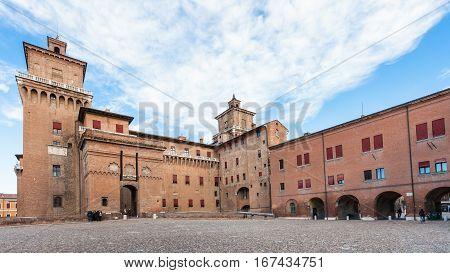 Piazza Castello And Castel Estense In Ferrara