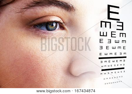 eye test against beautiful eye of woman