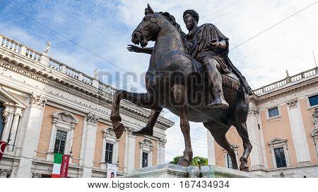 Statue Marcus Aurelius On Piazza Del Campidoglio