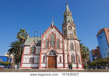 Arica, Chile - October 20, 2013: San Marcos de Arica cathedral exterior in Arica, Chile. The cathedral was designed by Gustave Eiffel and was constructed in the 1870's.