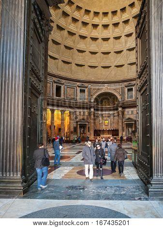 Visitors In Doors Of Pantheon In Rome City