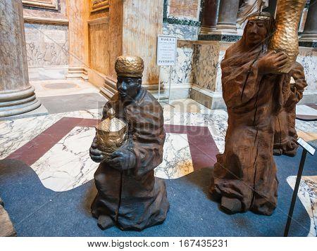 Nativity Scene In Pantheon In Rome