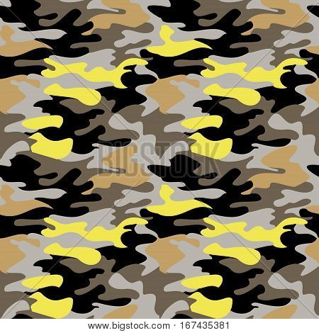 Camouflage pattern background seamless clothing print repeatable camo glamour bright vector. Yellow black gray