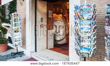 Souvenir Shop In Cental District Of Rome City