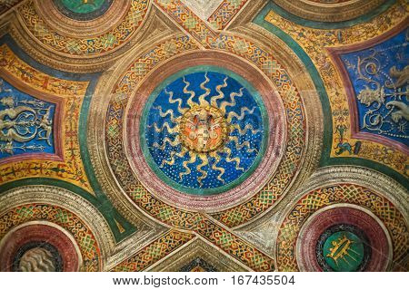 Decorated Ceiling In Room Of Vatican Museum