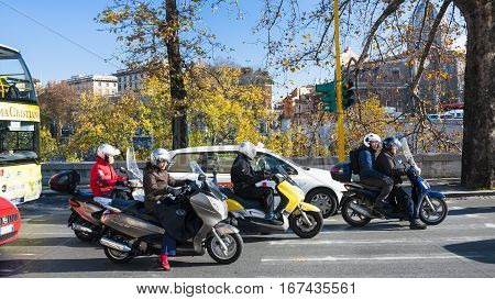 Scooters On Embankment In Rome City