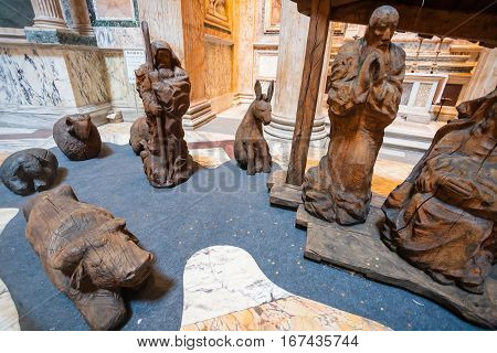 Figures Of Nativity Scene In Pantheon