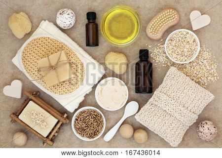 Body and skin care products on natural hemp paper background.