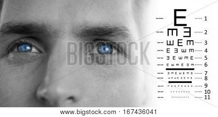 eye test against close up of man eyes