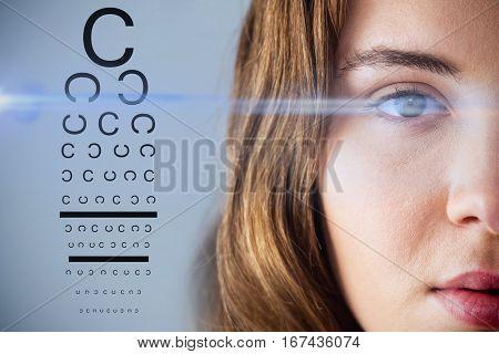 eye test against white background with vignette