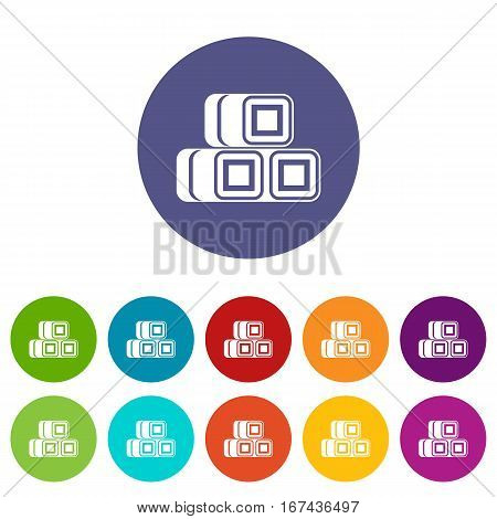 Hay bundles set icons in different colors isolated on white background