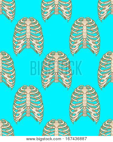 Seamless pattern with human rib cage. Line art style. Boho vector realistic illustration