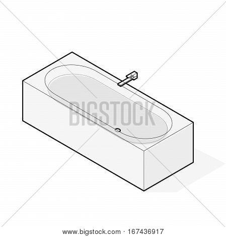 Modern bathtub filled with water. Outlined vector bath tub in isometric perspective. Isolated sanitary equipment purchased with modern water battery tap. Bathroom fixtures in family house apartment.