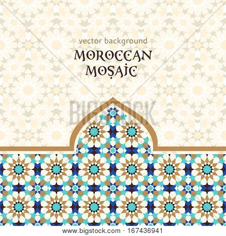 Traditional moroccan style grometric mosaic, ornamental background