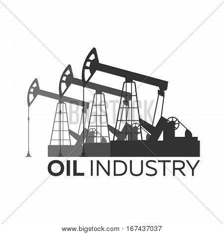 Oil Industry Logo. Tower Oil Exploration Vector Flat Illustration.