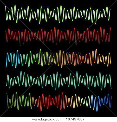 Sound waves vector set. Audio equalizer. Sound & audio waves isolated on black background.