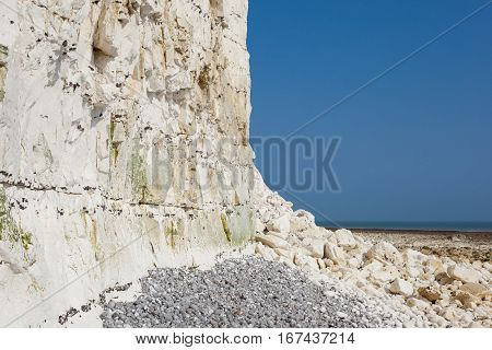Cliff fall Seven Sisters National park East Sussex UK chalk coastline