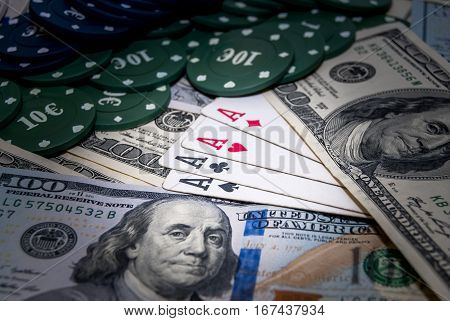 poker cards american money poker chips. business concept