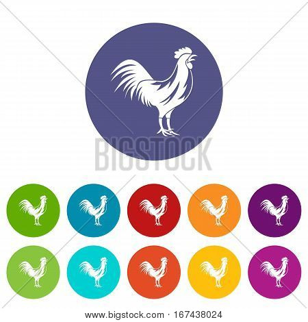 Gallic rooster set icons in different colors isolated on white background