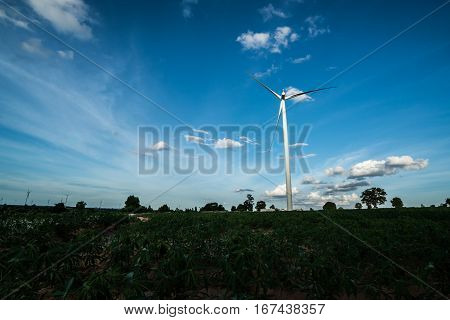 Wind Turbine Farm On Hillside