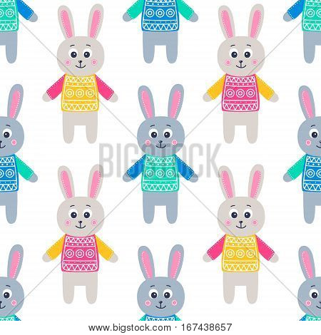 Cute rabbits. Vector seamless pattern with hand drawn flat hare in a sweater. Childish background. Bright colors - yellow pink green orange grey blue. On white background.