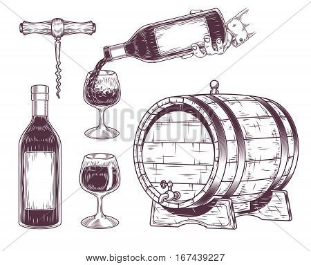 Vector collection of wine icons - bottle, glass, wooden barrel, corkscrew. Engraving style