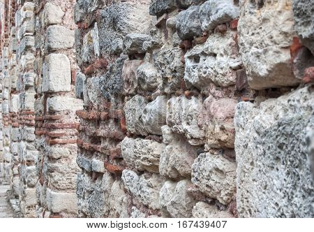 old brick wall as background close up