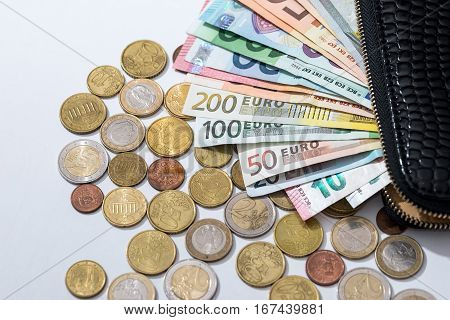 euro banknotes in purse and coins isolated