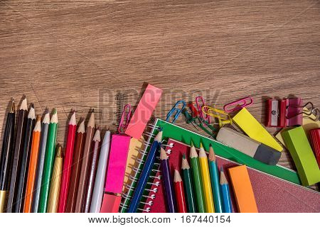 education equipment for children or student top view on desk