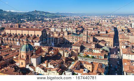 Above View Of Piazza Maggiore And Duomo In Bologna