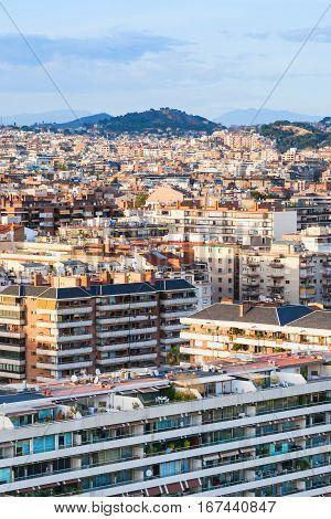 Living Houses In Barcelona City On Sunset
