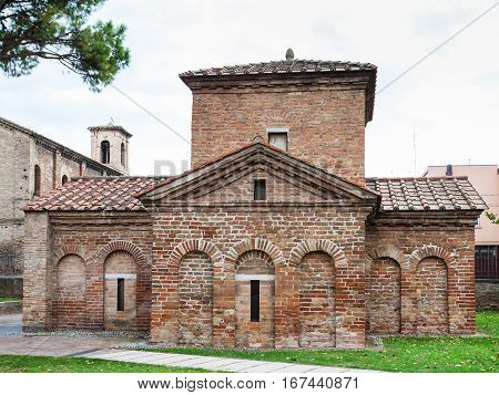 RAVENNA ITALY - NOVEMBER 4 2012: Ancient Galla Placidia mausoleum in Ravenna city. It was built between 425 and 433 this small mausoleum adopts a cruciform plan.