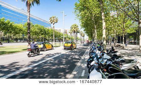 Avinguda Diagonal In Barcelona City In Spring