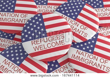 US News Concept Badge: Nation of Immigrants Pile With Refugees Welcome Button With US Flag 3d illustration
