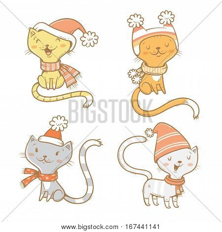 Cute cartoon cats set. Four little kitten. Winter time. Funny animals in hats and scarves. Vector contour image. Children's illustration.