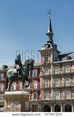Madrid (Spain): historic buildings in Plaza Mayor the main square of the city