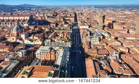 Above View Of Strada Maggiore In Bologna