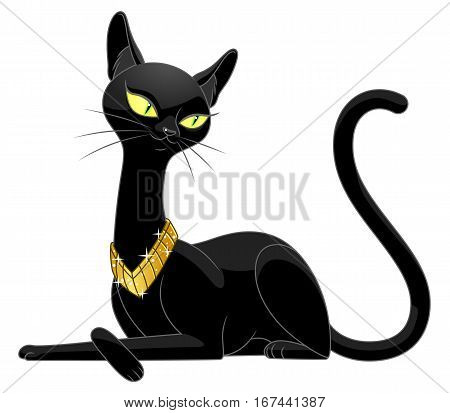 Cartoon beautiful black cat on the white background.