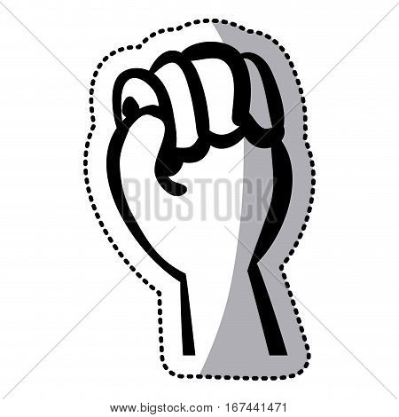sticker silhouette hand with clenched fist vector illustration