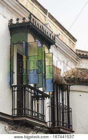 Cordoba (Andalucia Spain): old typical street in the Juderia: colorful veranda