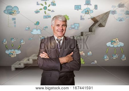 Smiling male manager with arms crossed against digital composite image of gray steps moving up